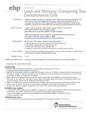 Lead and Mercury: Comparing Two Environmental Evils Lesson Plan