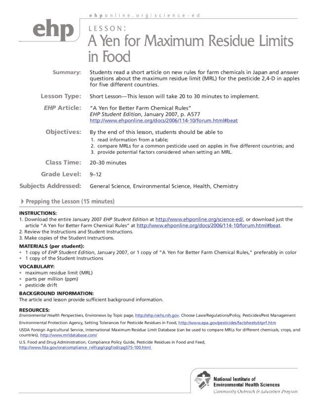 Pesticides Lesson Plans Worksheets Lesson Planet