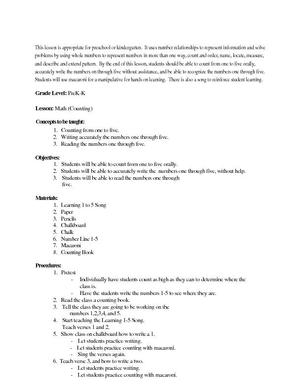 Kindergarten Math Counting Lesson Plan For Pre K Kindergarten