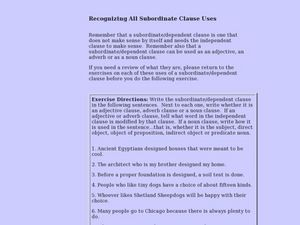Recognizing All Subordinate Clause Uses Lesson Plan