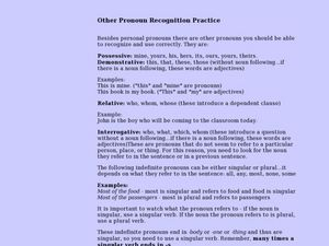 Other Pronoun Recognition Practice Interactive