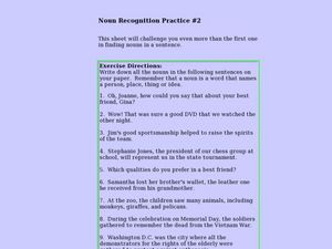 Noun Recognition Practice #2 Lesson Plan