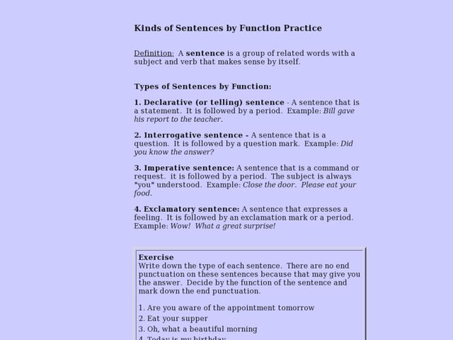 Kinds of Sentences by Function Practice Interactive