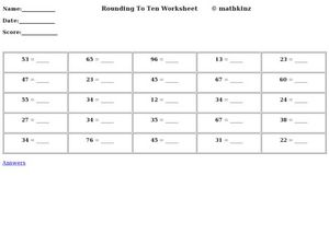 Rounding to Ten Worksheet Worksheet