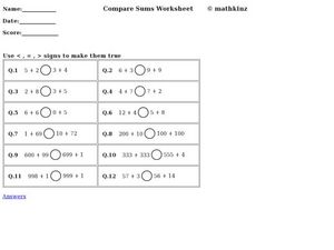 Compare Sums Worksheet