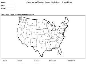 Color Code Map Activity Worksheet