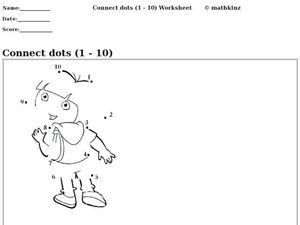 Connect Dots (1 - 10) Worksheet