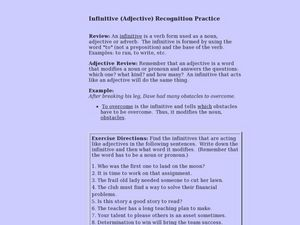 Infinitive [Adjective] Recognition Lesson Plan