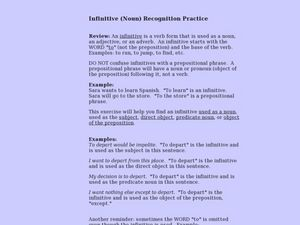 Infinitive (Noun) Recognition Practice Lesson Plan