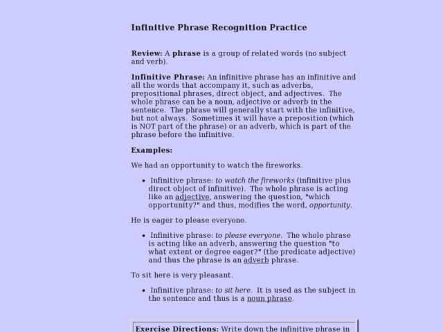 Infinitive Phrase Recognition Practice 6th 8th Grade Lesson Plan – Infinitive Phrase Worksheet