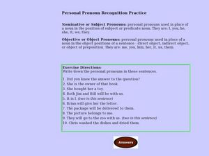 Personal Pronoun Recognition Practice Lesson Plan
