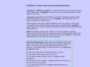 Collective Nouns and Verb Agreement Practice Lesson Plan