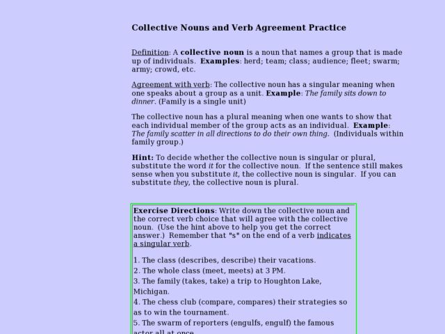 Collective Nouns And Verb Agreement Practice Lesson Plan For 4th