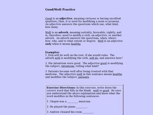 Good/Well Practice Lesson Plan
