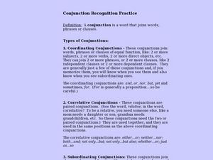 Conjunction Recognition Practice Lesson Plan