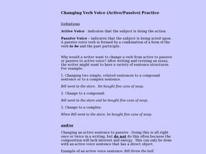 Changing Verb Voice (Active/Passive) Practice Lesson Plan