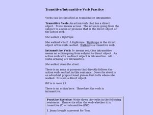 Transitive/Intransitive Verb Practice Lesson Plan