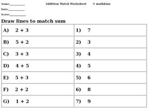 Draw Lines to Match Sum Worksheet