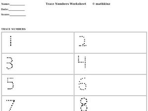 Trace Numbers Worksheet