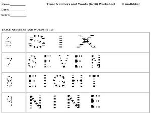 Trace Numbers and Words (6-10) Worksheet Worksheet