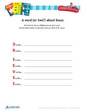 A Word (or two!) about Seuss Worksheet