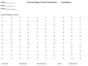 Search Shapes Words Worksheet