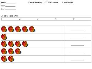 Easy Counting 1 to 5 (Apples) Worksheet