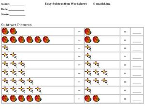 Easy Subtraction: Subtract Pictures Worksheet