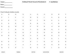 Ordinal Word Search Worksheet Worksheet
