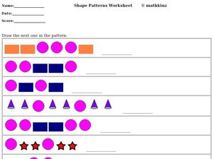 Shape Patterns Worksheet Worksheet