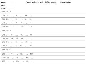 Skip Count in a Pattern: 2, 5, 10 Worksheet