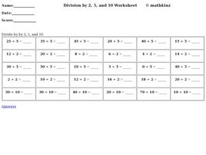 Division by Two, Five, and Ten Worksheet