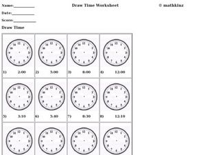 Draw Time Worksheet Worksheet