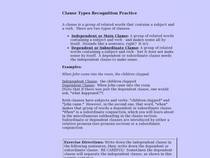 Clause Types Recognition Practice Lesson Plan