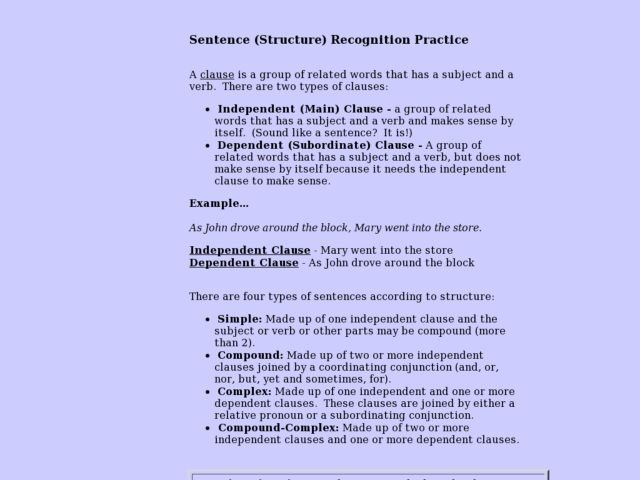 Sentence (Structure) Recognition Practice Lesson Plan