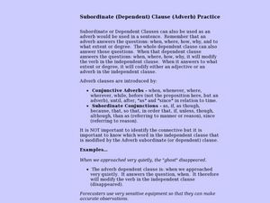 Dependent or Subordinate Adverb Clauses Lesson Plan