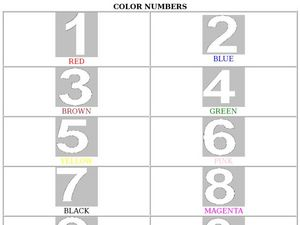 Color Numbers Worksheet