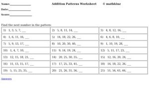 Find the Next Number in the Pattern Worksheet
