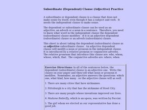 Subordinate (Dependent) Clause (Adjective) Practice Lesson Plan