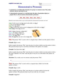 Demonstrative Pronouns Worksheet