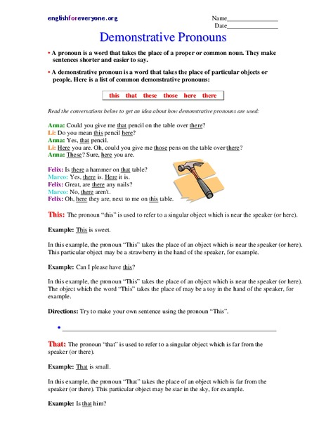 Demonstrative Pronouns Worksheet For 4th 6th Grade