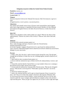 Delegation of Powers within the United States Federal System Lesson Plan