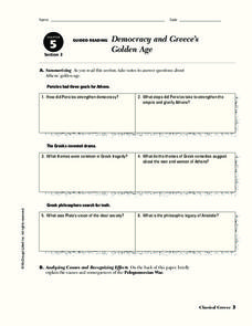 Democracy and Greece's Golden Age Worksheet