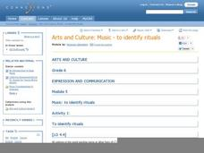 Arts and Culture: Music to Identify Rituals Lesson Plan