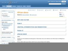 Creating, Interpretation and Presentation: African Dance Lesson Plan
