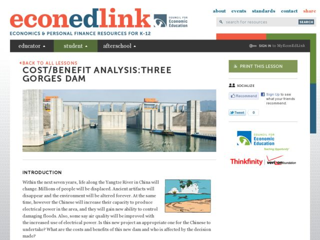 Cost Benefit Analysis Three Gorges Dam Lesson Plan For 7th