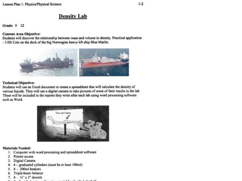 Density Lab Lesson Plan