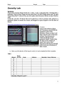 density lab worksheet for 9th 10th grade lesson planet. Black Bedroom Furniture Sets. Home Design Ideas