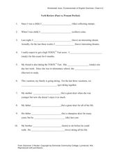 Verb Review (Past vs. Present Perfect) Worksheet