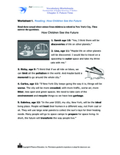 Reading Activity: How Children See the Future Worksheet